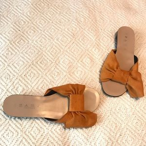 Zara Trafaluc Orange Suede Bow Slides 6